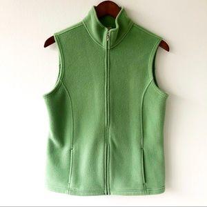 LL Bean Fleece Green Winter Vest Size Medium EUC